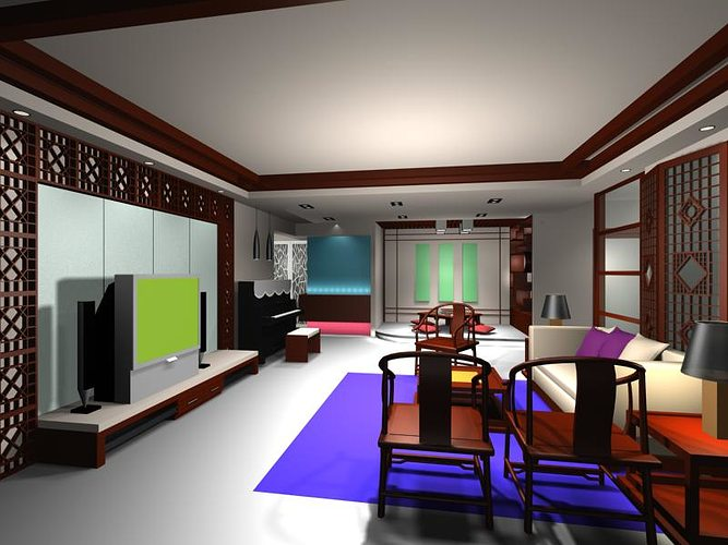 Living room design 3d model cgtrader for Living room designs 3d model
