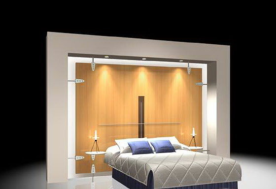 Bed with back wall 3d wardrobe cgtrader for Bed back wall design