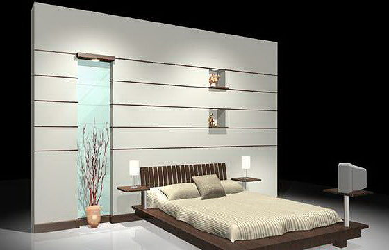 3d model bed with back wall cgtrader for Bed back wall design
