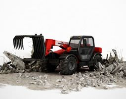 3d model industrial red tractor