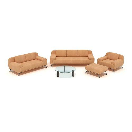 orange couch set 3d model obj 1