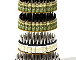 3d model tiered circular wine display table
