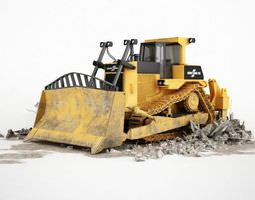 metal yellow bulldozer 3d