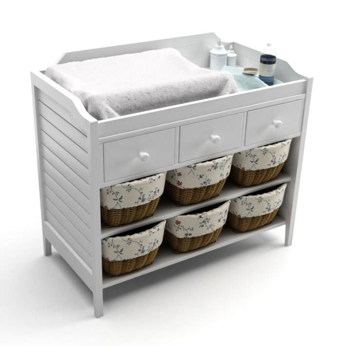 White Baby Changing Table 3d Model Obj Mtl 1