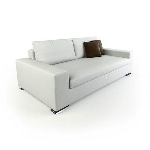 Beau White Modern Boxy Sofa 3D Model