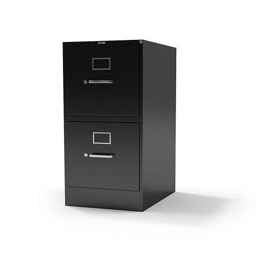 Metal 2 Drawer File Cabinet 3D Model