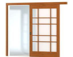 3d asian wooden sliding door paper paneled