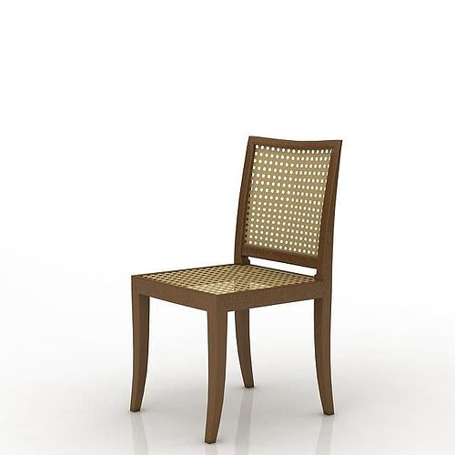 Modern living room interior 3ds max scene with all furniture 3d models - Dark Wood Lattice Dining Room Chair 3d Model Obj
