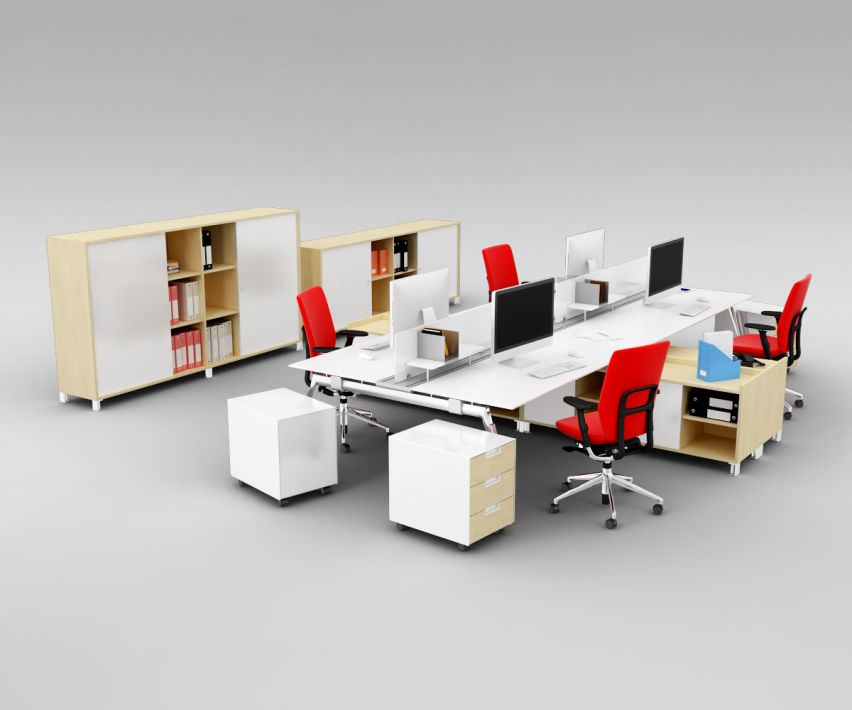 Office Interior Furniture Set 3d Cgtrader
