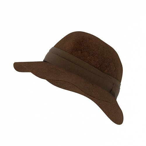 brown felt hat 3d model obj mtl 1