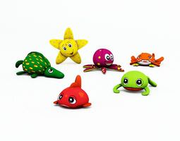 Kids Assorted Sea Animal Plushes 3D Model