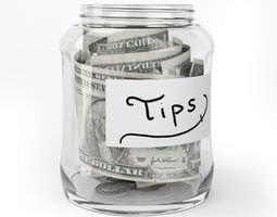 3D model Glass Tip Jar With Cash