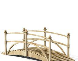 Natural Wood Arc Walking Garden Bridge 3D model
