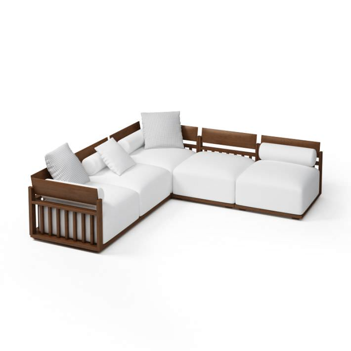 Wood Frame Sectional Sofa 3D | CGTrader