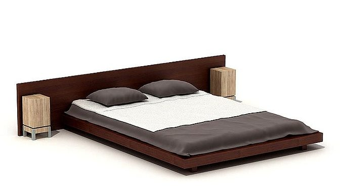 wooden large bed 3d cgtrader