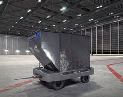airport container trolley 3d model obj