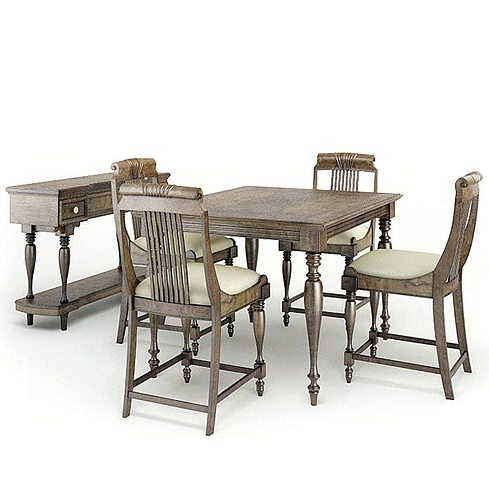 Four Piece Light Brown And Cream Dining Set 3D Model