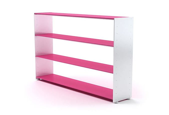 White And Pink Wooden Bookshelf 3d Model Obj Mtl 1