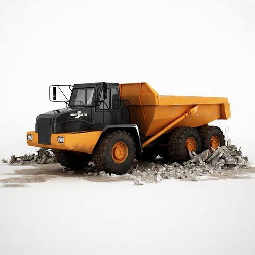 black and yellow industrial dump truck 3d model obj mtl 1