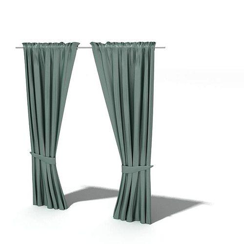 Teal Drawn Curtains 3D Model