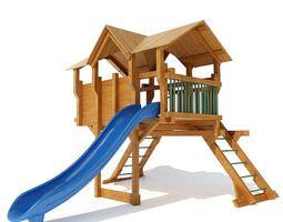 3d wooden outdoor playground equipment