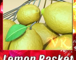 3d lemons in decorative metal wire container