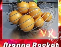3d model oranges in metal wire decorative basket