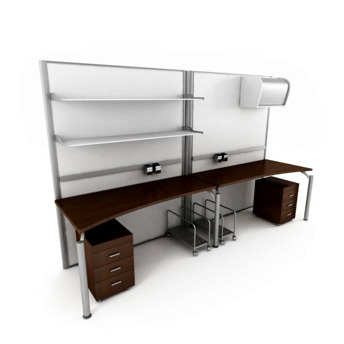 basic office desk. Basic 2 Person Office Desk With Matching File Cabinets 3d Model 1