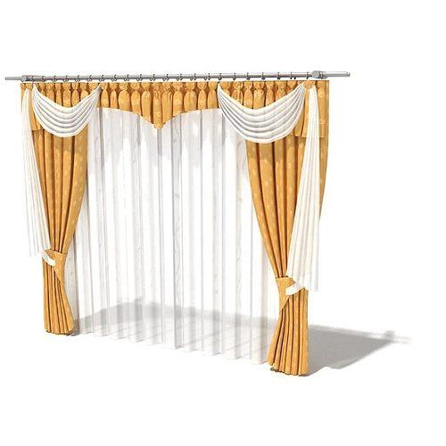 orange and creme curtain set 3d model  1
