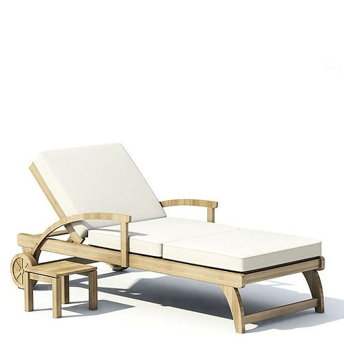 Cream Wood Outdoor Lounge Chair With White Cushion And Matchi... 3D Model
