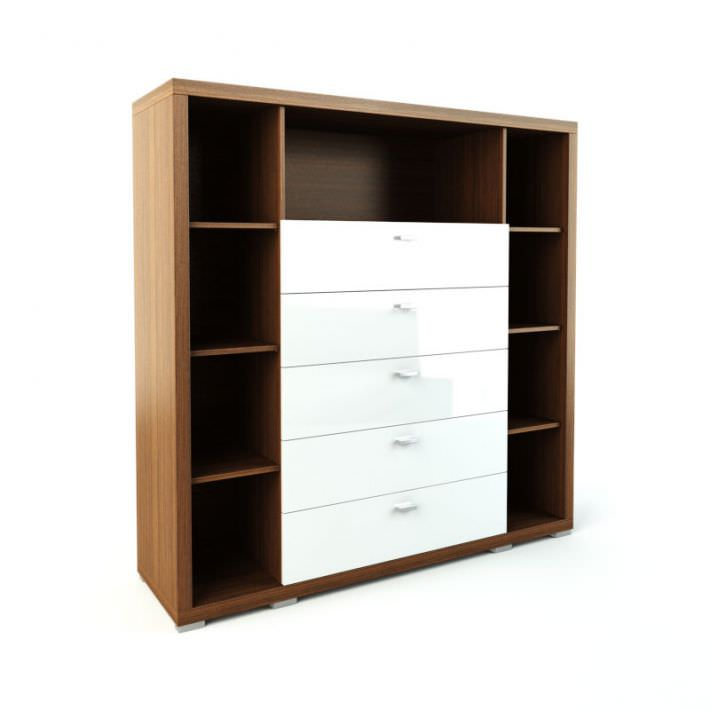 White Wood Shelves : Dresser And Shelves White Wood 3D Model OBJ  CGTrader.com