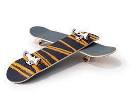3d orange and black skateboard