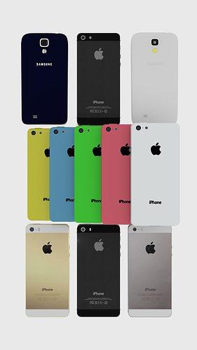 modern phone collection iphone 5 5s 5s galaxy s4 3d model obj mtl blend 1