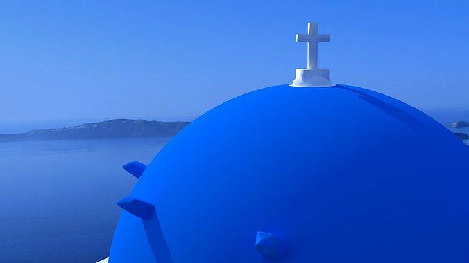 blue dome church in santorini 3d model obj 3ds fbx dxf stl blend 3