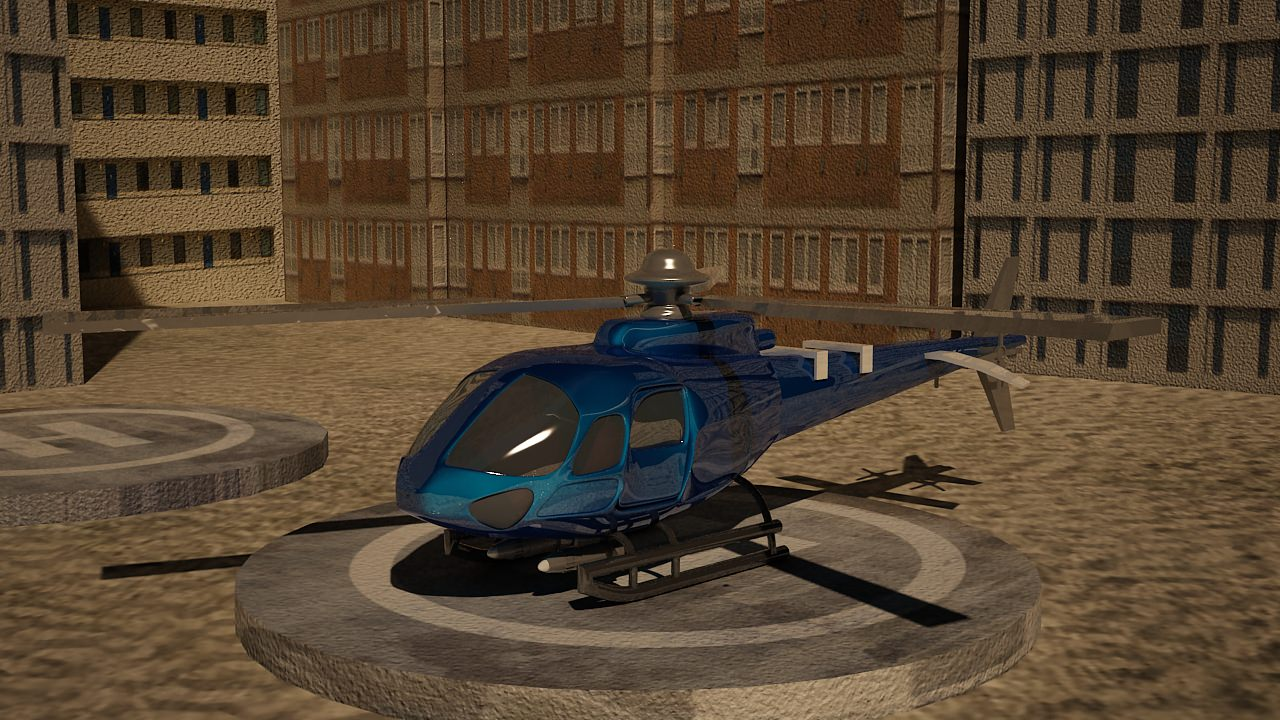 low poly euro helicopter