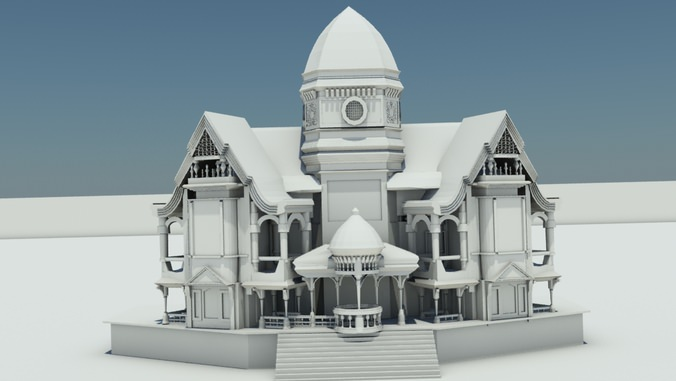 3d Model Old House Vr Ar Low Poly Max