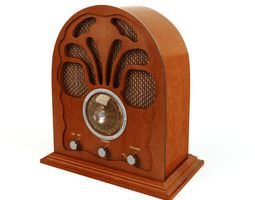 3d retro wooden radio