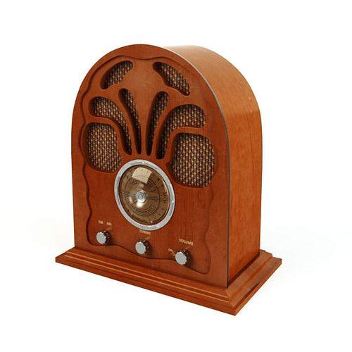 retro wooden radio 3d model obj mtl 1