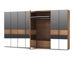 3D model Modern Wooden Multi Tone Wardrobe