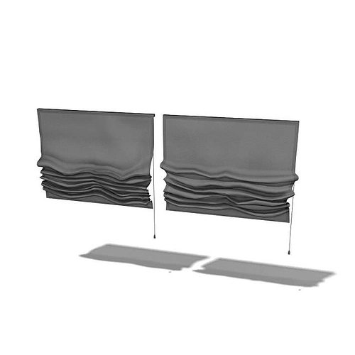 3D Model Fabric Curtain With Drawstring