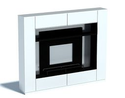 3d black and white marble electric fireplace