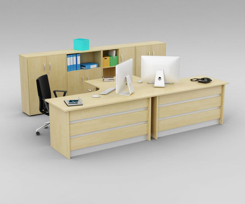 Awesome Two Person Office Desk With Matching Cabinets 3d Model Obj 1