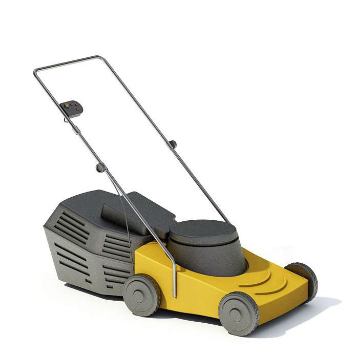 Modern yellow lawn mower 3d model for Gardening tools 3d model