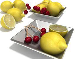 3D model Fruit Lemons And Cherries