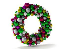 3d multicolored christmas bulb wreath