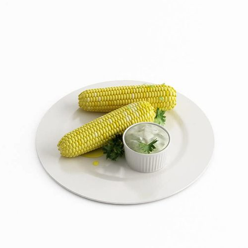 food with corn and butter 3d model obj mtl 1