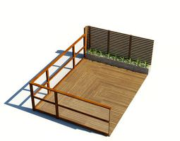 wood patio with privacy fence 3d model obj