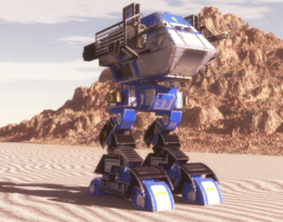 3d death walker mech blue