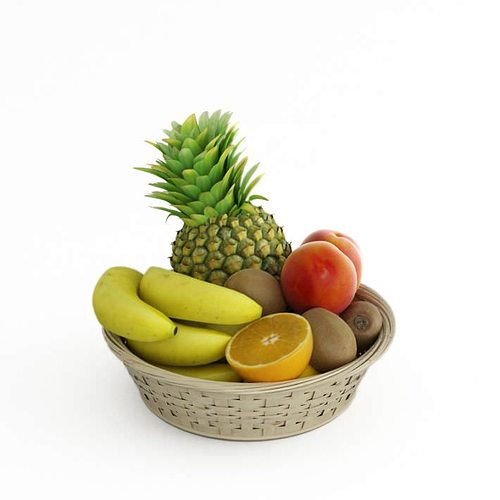 Ratan fruit basket 3d model cgtrader for Food bar 3d model