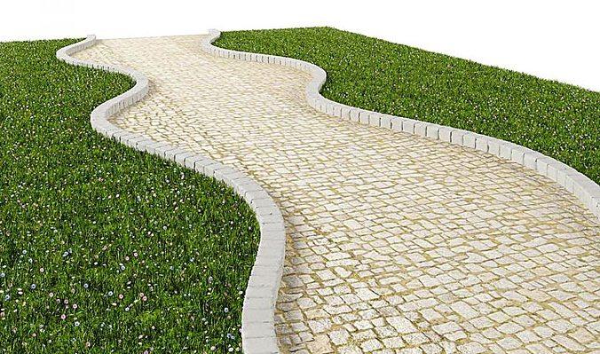 white cobblestone path 3d model obj mtl 1